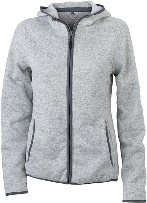 Dámská mikina s kapucí na zip JN588 - Světlý melír / tmavě šedá | XXL