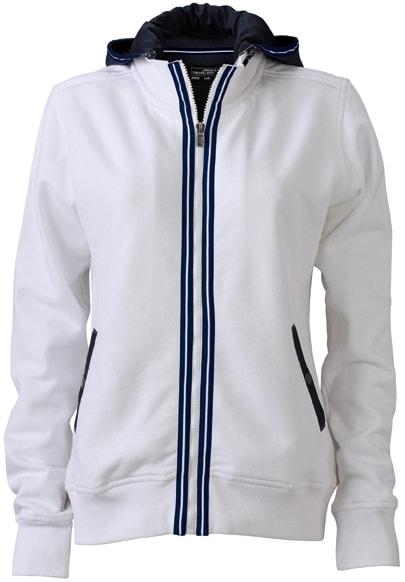 Dámská mikina s kapucí na zip JN995 - Bílá / tmavě modrá | XXL