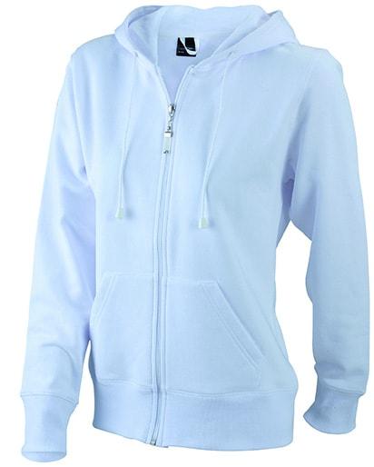Dámská mikina na zip s kapucí JN053 - Bílá | S