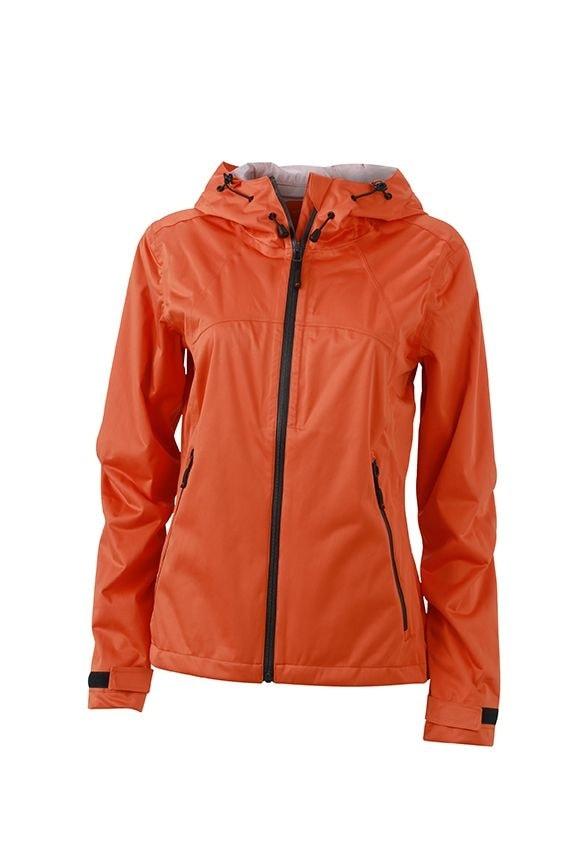 Dámská softshellová bunda s kapucí JN1097 - Tmavě oranžová / ocelově šedá | XXL