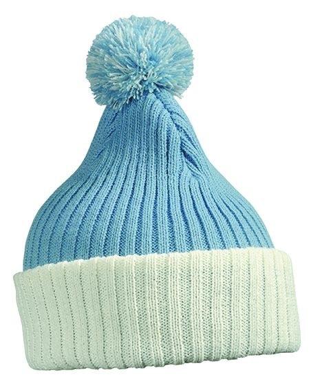 Pletená čepice s bambulí MB7540 - Světle modrá / bílá | uni
