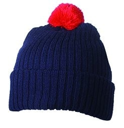 Pletená čepice s bambulí MB7540 - Tmavě modrá / červená | uni