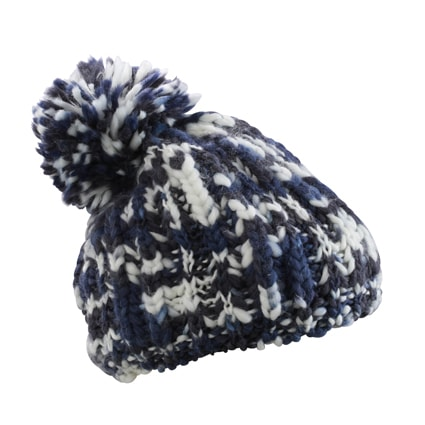 Pletená čepice s bambulí MB7977 - Tmavě modrá / šedo-bílá | uni