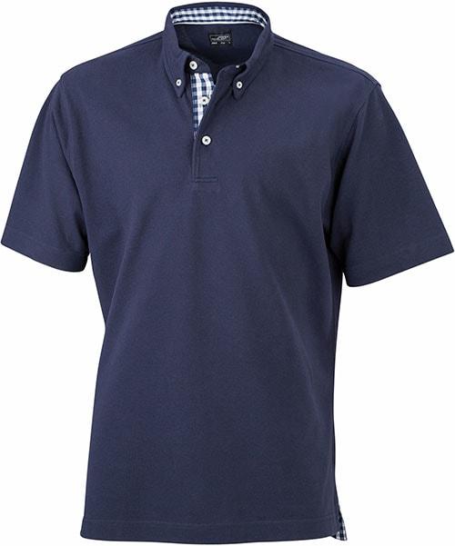 Elegantní pánská polokošile JN964 - Tmavě modrá / tmavě modro-bílá | XXXL