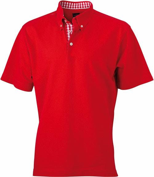 Elegantní pánská polokošile JN964 - Červená / červeno-bílá | XXXL