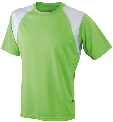 Dětské sportovní tričko s krátkým rukávem JN397k - Limetkově zelená / bílá | XL