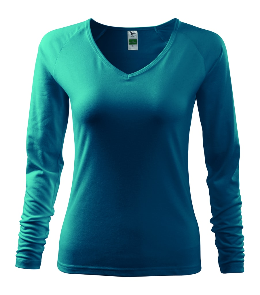 Dámské tričko s dlouhým rukávem - Tmavý tyrkys | M