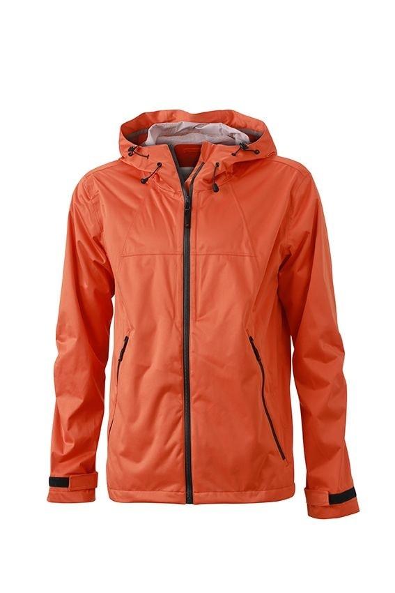 Pánská softshellová bunda s kapucí JN1098 - Tmavě oranžová / ocelově šedá | XXL
