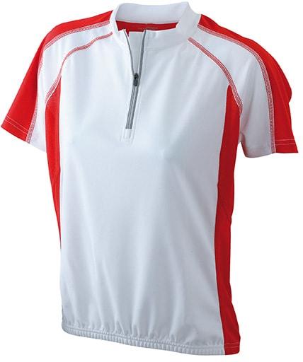 Dámské cyklistické tričko JN419 - Bílá / červená | M