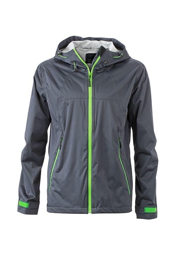 Pánská softshellová bunda s kapucí JN1098 - Ocelově šedá / zelená | XXXL
