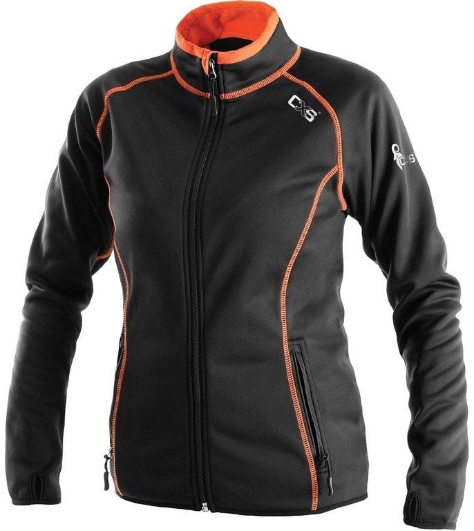 Dámská mikina na zip TORONTO - Černá / oranžová | L