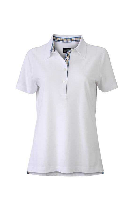 Elegantní dámská polokošile JN969 - Bílá / modro-žluto-bílá   L
