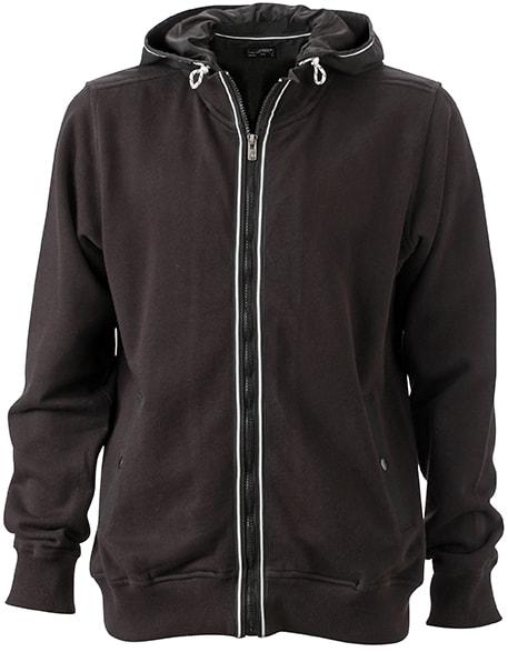 Pánská mikina s kapucí na zip JN996 - Černá / černá | XXXL