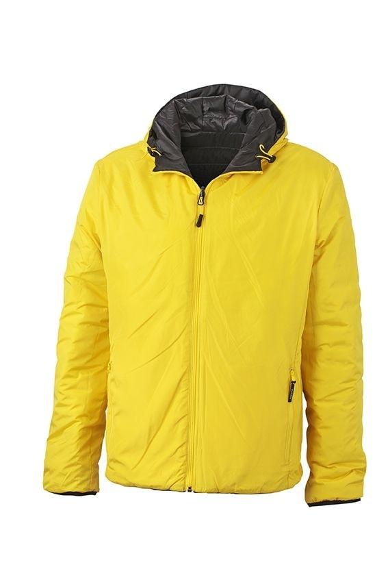 James & Nicholson Ľahká pánska obojstranná bunda JN1092 - Černá / žlutá | XXXL