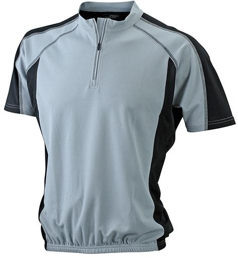 Pánské cyklistické tričko JN420 - Stříbrná / černá | S