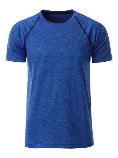Pánské funkční tričko JN496 - Modrý melír / tmavě modrá | XL