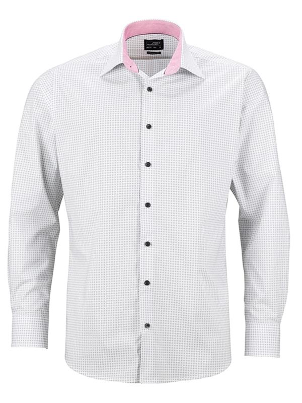 Pánská luxusní košile Dots JN674 - Bílo-titanová | XXXL