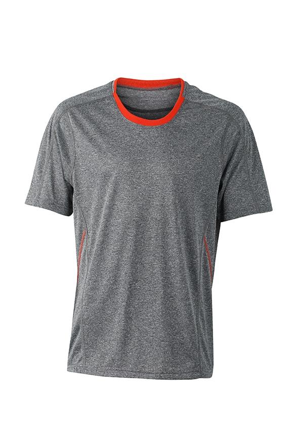 Pánské běžecké tričko JN472 - Šedý melír / grenadina | XXL