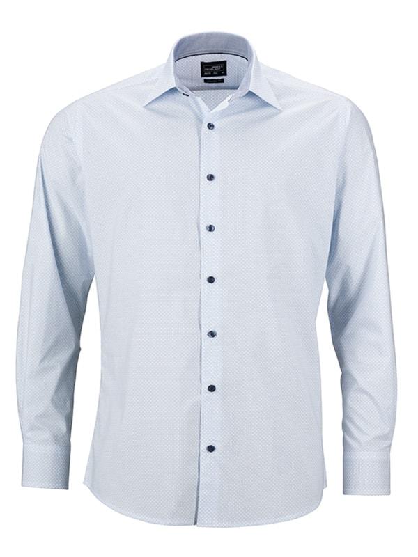 Pánská luxusní košile Diamonds JN670 - Bílo-světle modrá | L