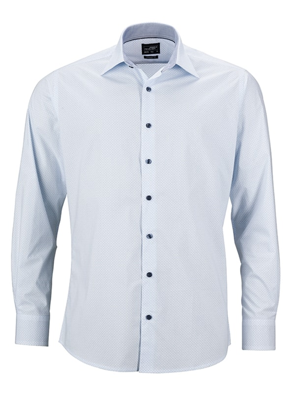 Pánská luxusní košile Diamonds JN670 - Bílo-světle modrá | XL