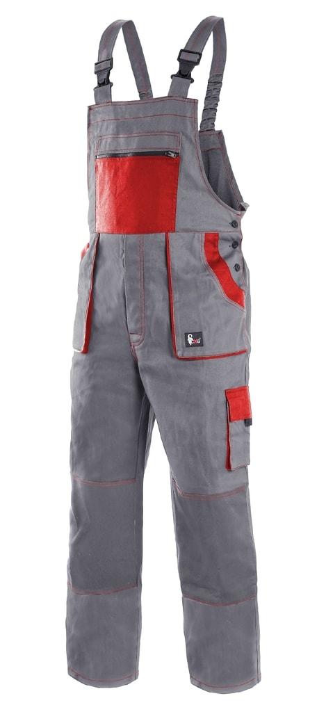Pracovní kalhoty s laclem CXS LUXY ROBIN - Šedá / červená | 56