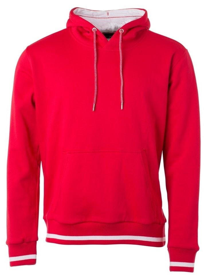 Pánská mikina s kapucí Club JN778 - Červená   bílá  1a62ef15e2