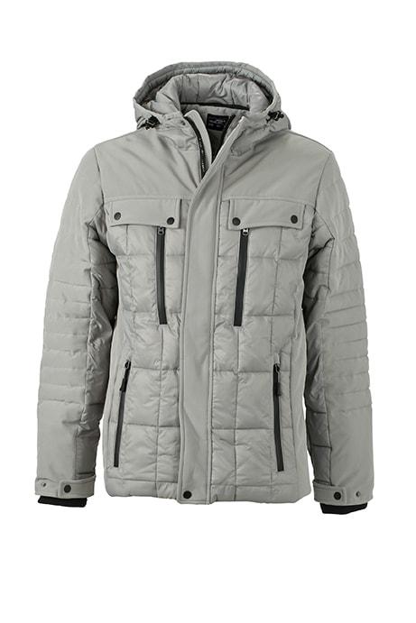 Sportovní pánská zimní bunda JN1102 - Stříbrná / černá | XXL