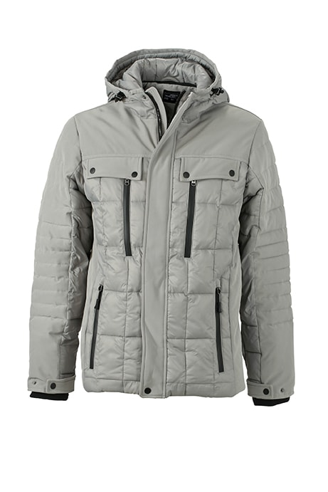 Sportovní pánská zimní bunda JN1102 - Stříbrná / černá | XXXL