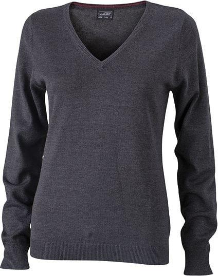 Dámský bavlněný svetr JN658 - Antracitový melír | XXL