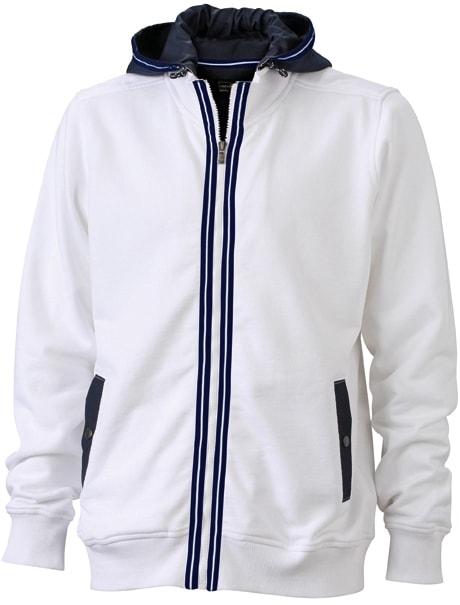 Pánská mikina s kapucí na zip JN996 - Bílá / tmavě modrá | XXL