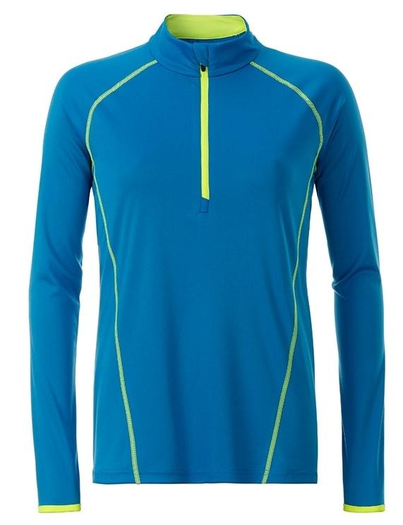 Dámské funkční tričko s dlouhým rukávem JN497 - Jasně modrá / sytě žlutá | L