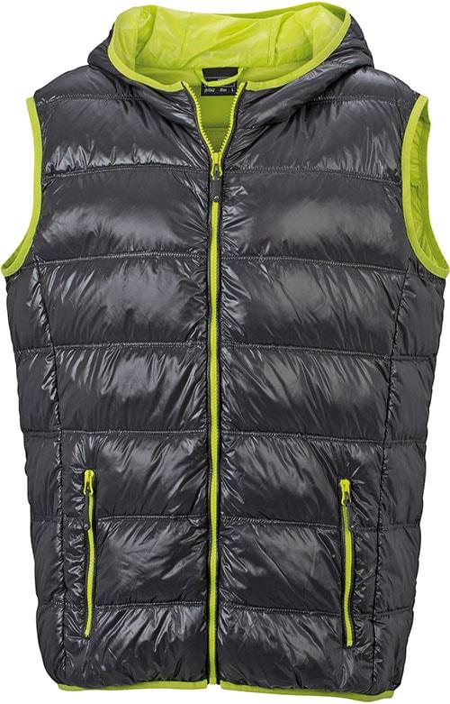 Lehká pánská péřová vesta JN1062 - Tmavě šedá / žlutozelená | S