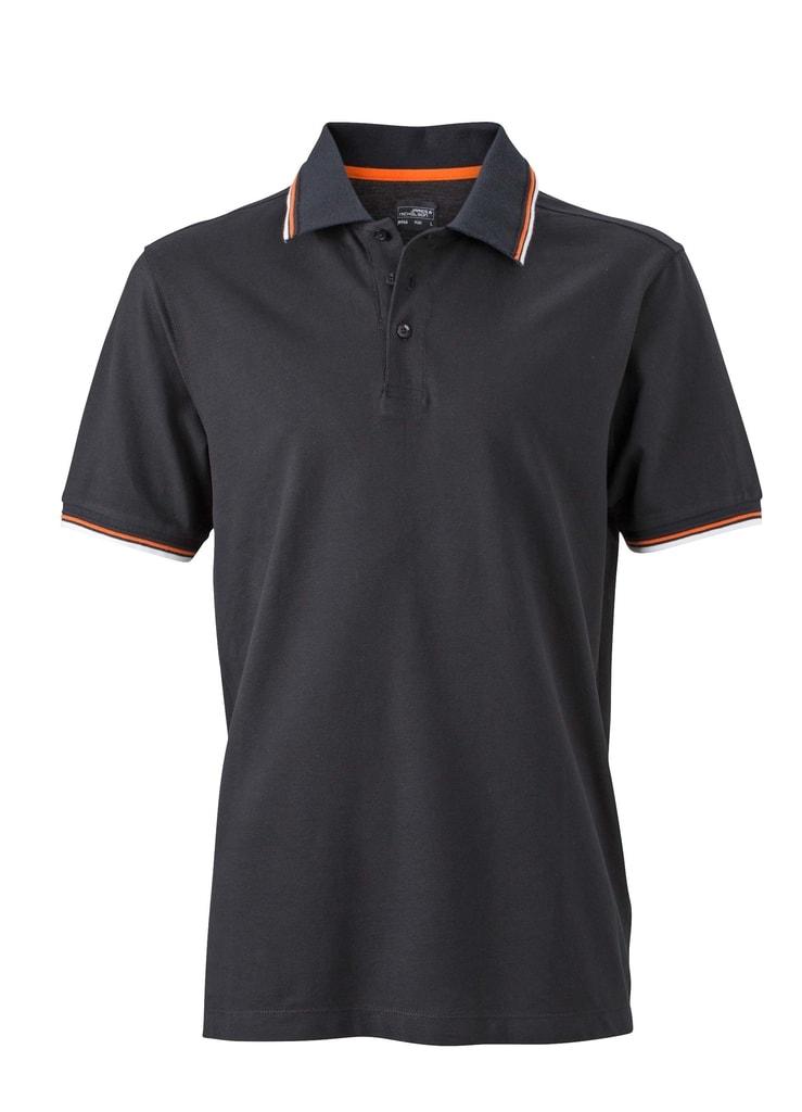 Moderní pánská polokošile JN966 - Černá / bílá / oranžová | XXXL