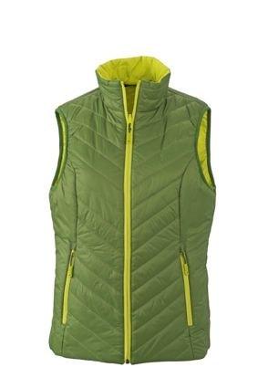 Lehká dámská oboustranná vesta JN1089 - Zelená / žlutozelená | XXL