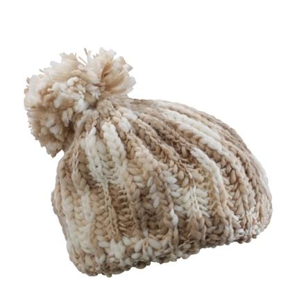 Pletená čepice s bambulí MB7977 - Přírodní / šedo-bílá | uni
