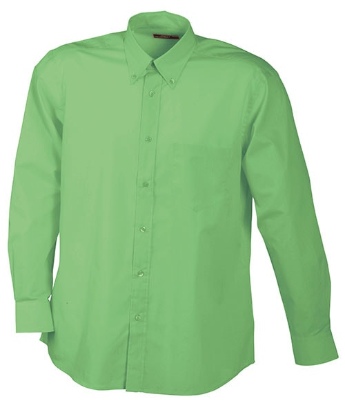 Pánská košile s dlouhým rukávem JN600 - Limetkově zelená | XXXL