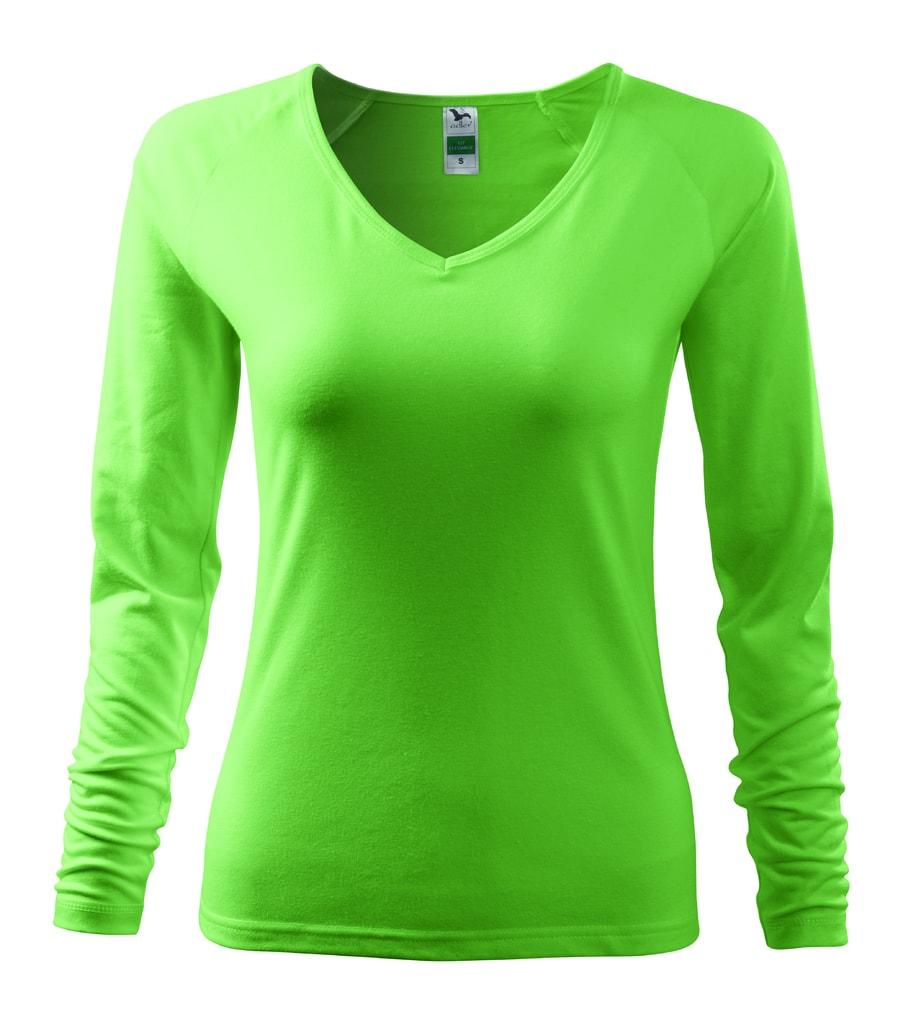 Dámské tričko s dlouhým rukávem - Trávově zelená | XXL