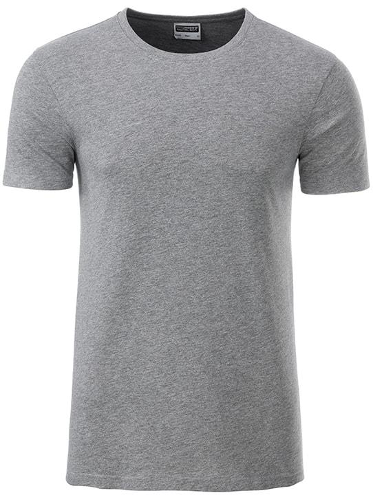 Klasické pánské tričko z biobavlny 8008 - Šedý melír | M