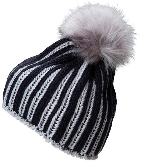 Pletená dámská zimní čepice MB7107 - Tmavě modrá / stříbrná