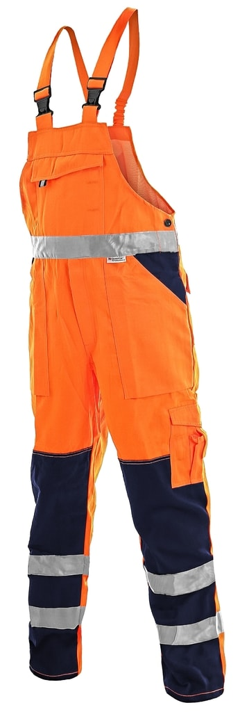 Pracovní reflexní kalhoty s laclem NORWICH - Oranžová | 58