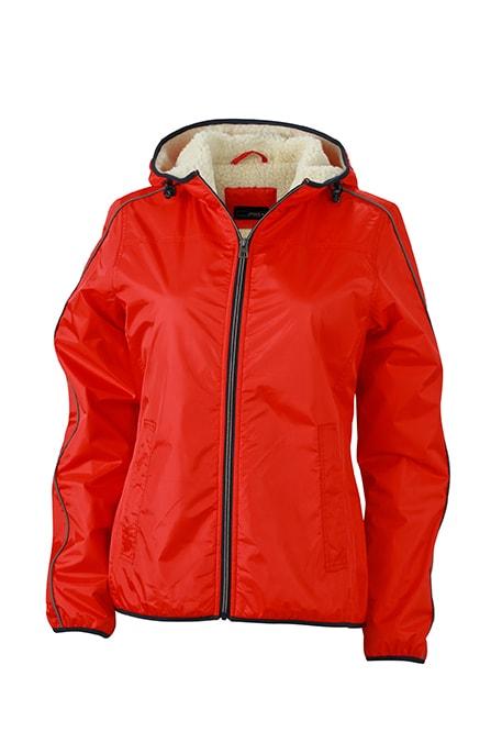 Dámská zimní bunda Beránek JN1103 - Světle červená / bílá | XXL