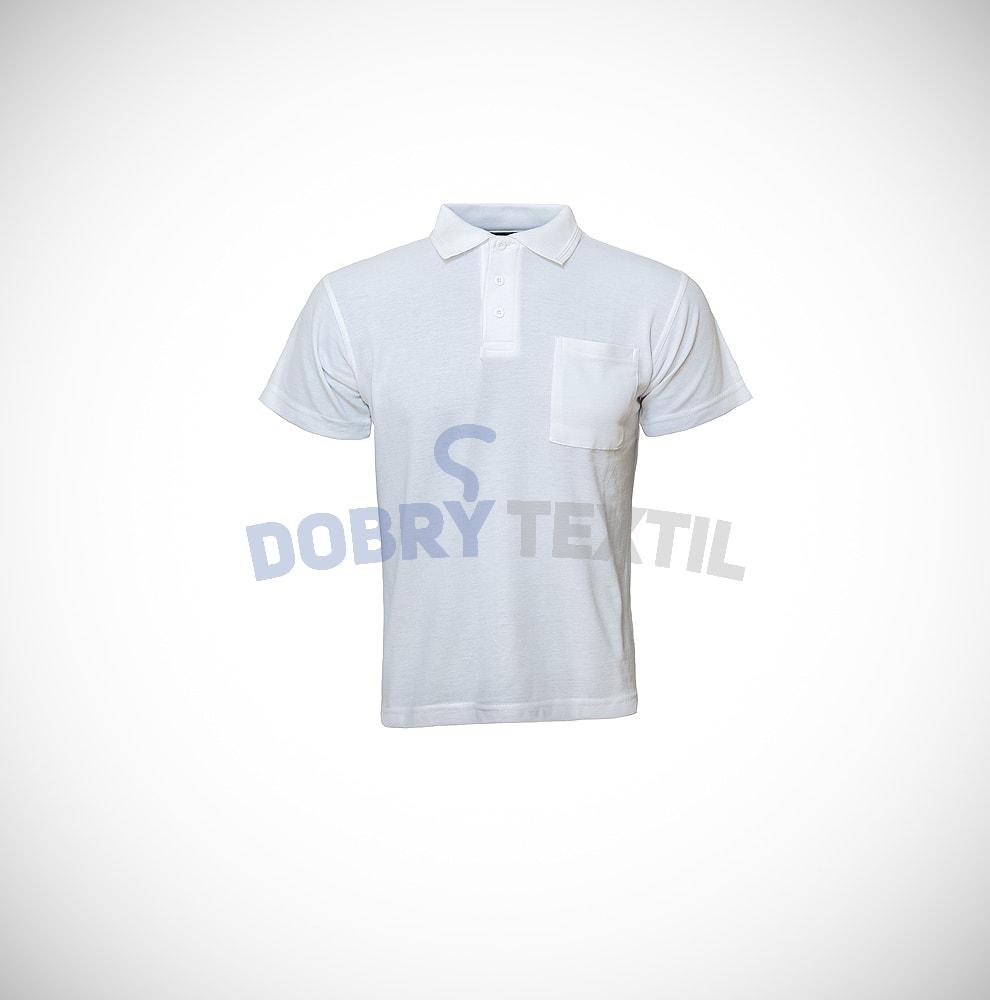 Hladká pánská polokošile s kapsičkou - Bílá | XXXL