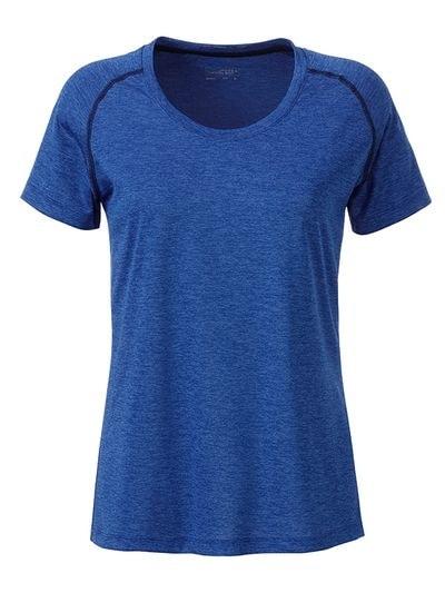 Dámské funkční tričko JN495 - Modrý melír / tmavě modrá | XXL