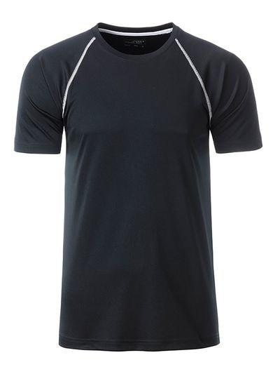 Pánské funkční tričko JN496 - Černá / bílá | M