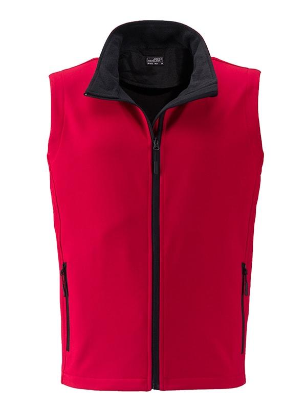 Pánská softshellová vesta JN1128 - Červená / černá | XXXL