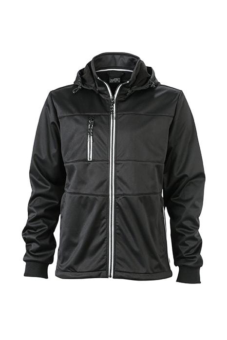 Pánská sportovní softshellová bunda JN1078 - Černá / černá / bílá | XXXL