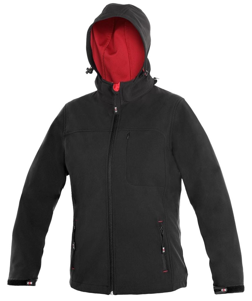 Dámská softshellová bunda DIGBY - Černá / červená | XXXL