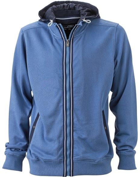 Pánská mikina s kapucí na zip JN996 - Džínová   tmavě modrá  7c715fae91
