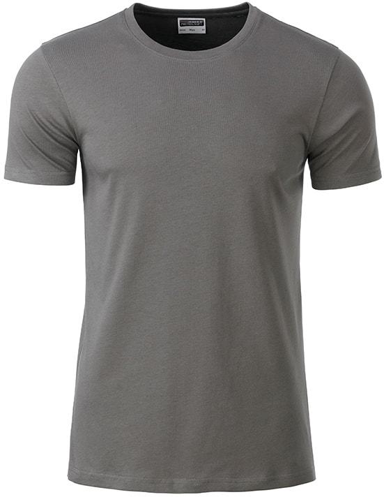 Klasické pánské tričko z biobavlny 8008 - Středně šedá | M