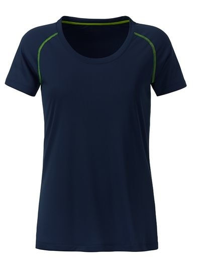 Dámské funkční tričko JN495 - Tmavě modro-zářivě žlutá | L